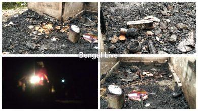 fire at grocery shop at falakata
